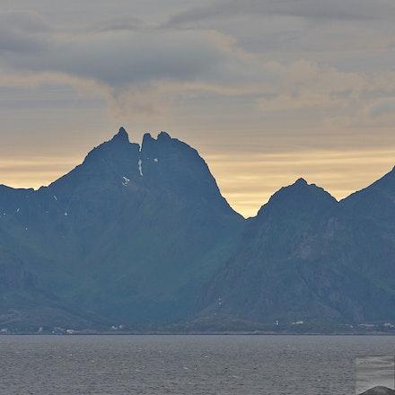 The east side of the Lofoten Islands in midsummer dusk
