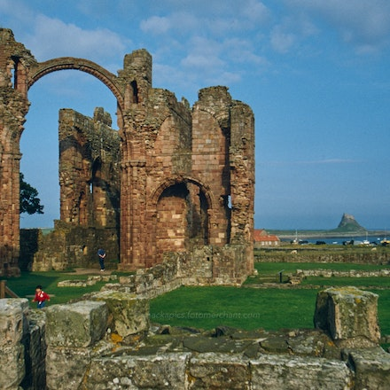 Lindisfarne Priory, Northumberland - Lindisfarne (Holy Island) Priory ruins, Northumberland. Photographed in the 1980s or 1990s.  A digital copy of a...