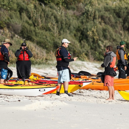 140405_GreenPatch_3665 - Sea kayakers are getting ready for the day on the water at Green Patch (Jervis Bay). April 05 2014. Photo: Jan Vokaty