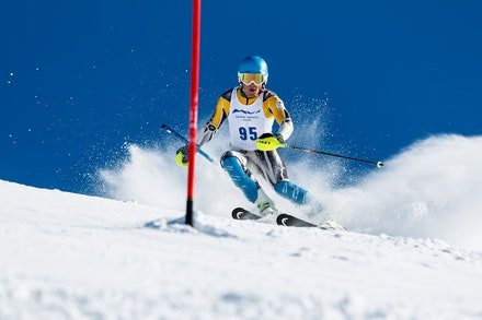 140813_FIS_SL1_3436 - Athlete competing in SSA FIS Slalom race on Hypertrail at Perisher, NSW (Australia) on August 13 2014. Jan Vokaty
