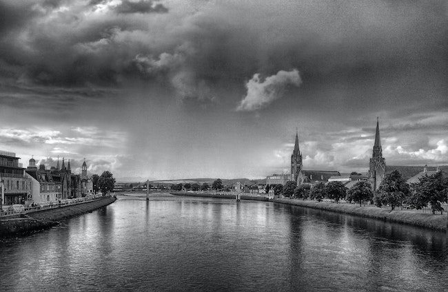 River Ness ,Inverness,Scotland. - A break between the rain, the River Ness in Inverness ,Scotland.