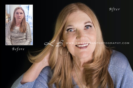 Before-and-after - Before and After from Shirley's glamour portrait session in our Edens Landing, Logan City studio.