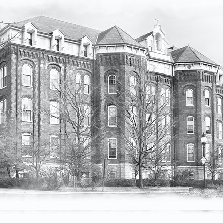 St Joseph Hall, University of Dayton_BW_Digital.Watercolor_2436_ Print_2202 - Photos by Campus Photos USA.(Digital Watercolor Black & White) This is St,...