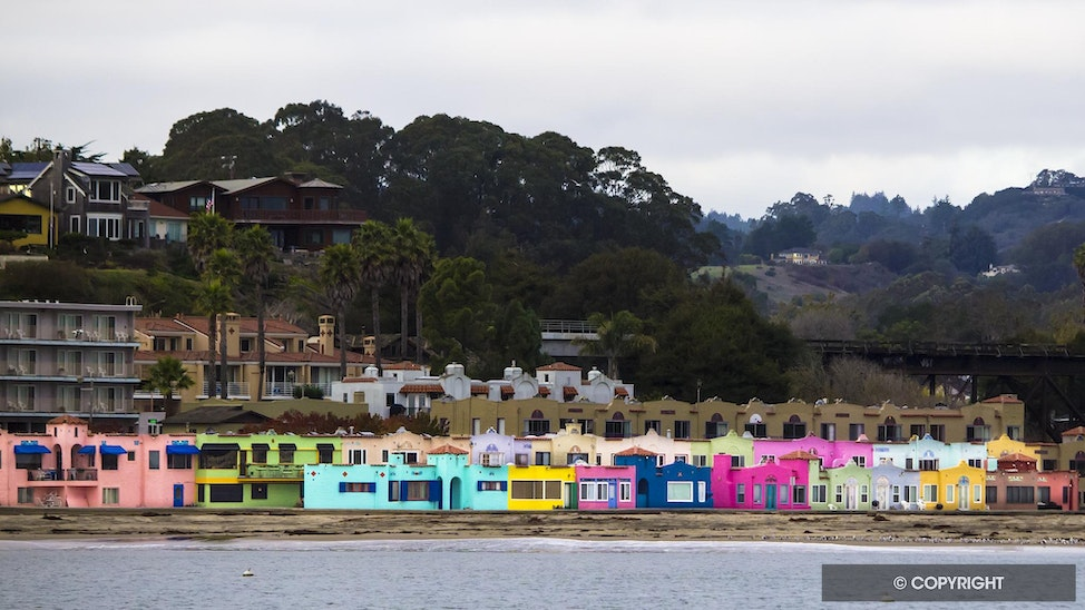 California Beach Colors - Colorful beach houses along the coast in Capitola, California