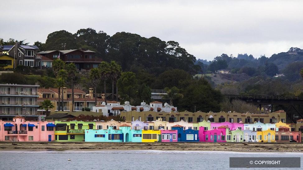 California Beach Colors - Colorful beach houses along the coast in Capitola, California