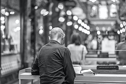 011 Street City Glebe, Newtown 28022015-5488-Edit - Drinking coffee and reading in the Strand Arcade, Sydney, Australia.