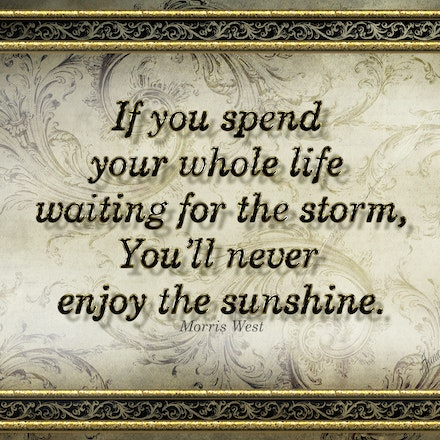 Enjoy The Sunshine - Words to inspire in a vintage art deco style artwork.