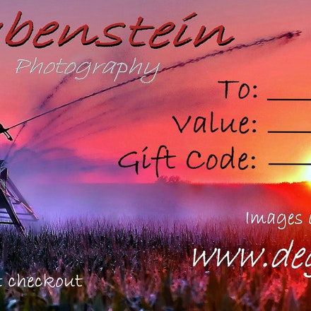 DEGphoto Gift Certificate - Select Value of Gift Certificates wanted. Gift Code will be sent after purchase. Each selection will generate a separate...