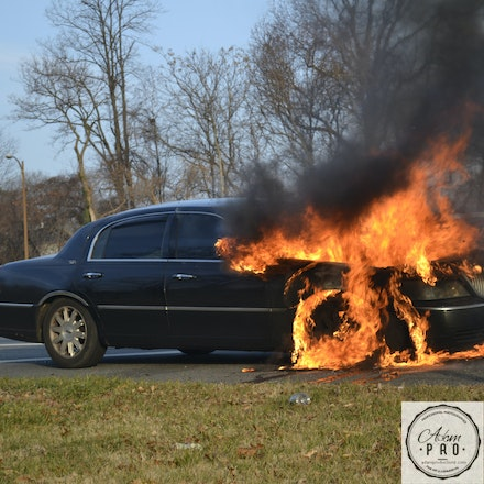 Car Fire - 495 Capitol Beltway, USA, Dec. 13 2014: A car burns out of control on the beltway.
