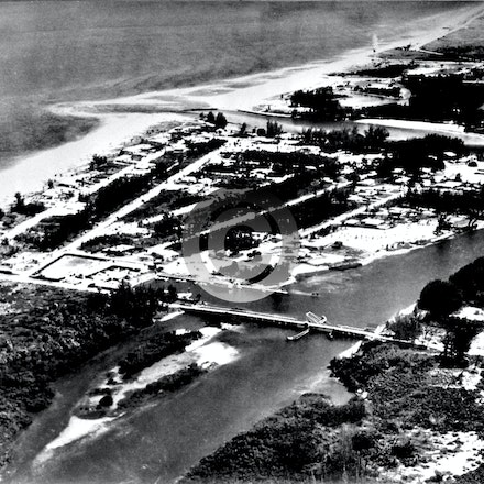 INLET COLONY    1957A - This 1957 Jupiter aerial image shows Catos Bridge.