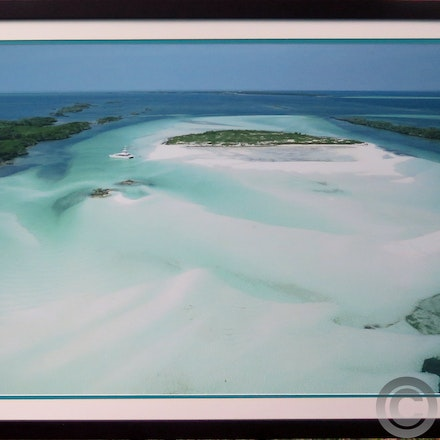 DOUBLE BREASTED CAY - 20 x 30 Aerial Print Framed in our house mahogany wood.  double mats, regular glass and hardware. One of our all time best sellers!...