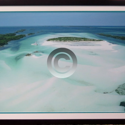 DOUBLE BREASTED CAY - 20 x 30 Aerial Print Framed in our house mahogany wood.  double mats, regular glass and hardware.