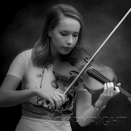 Pretty Girl with Violin - Portrait of Pretty Girl playing her Violin. Image printed on Canson Rag Photographic paper in monochrome. If you like it please...